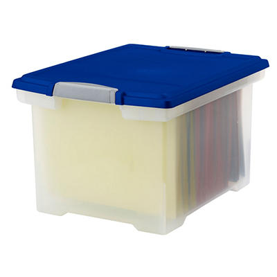 File Tote with Locking Handles, Clear & Blue - 2 Pack