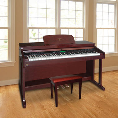 Adagio Full-Size Digital Upright Piano with Storage Bench - Mahogany Finish