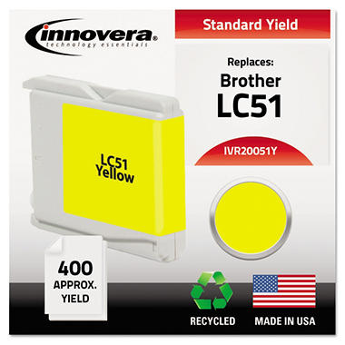 Innovera - 20051Y Compatible, Remanufactured, LC51Y Ink, 400 Page Yield - Yellow