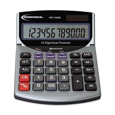 Innovera - 15966 Compact Desktop Calculator - 12 Digit LCD