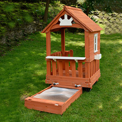 Wood Playhouse with Sandbox