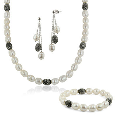 Cultured Pearls by Honora Pave Crystal Beads and 8-9mm Oval Ringed Freshwater Cultured Pearl Necklace, Bracelet and Earring Set