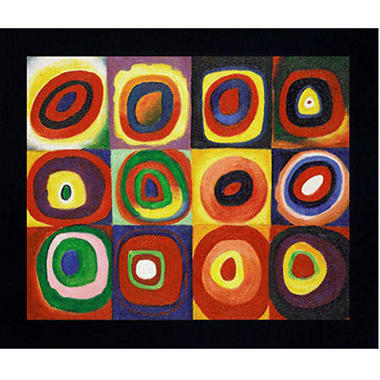 Hand-painted Oil Reproduction of Wassily Kandinsky's <i>Color Study of Squares</i>.