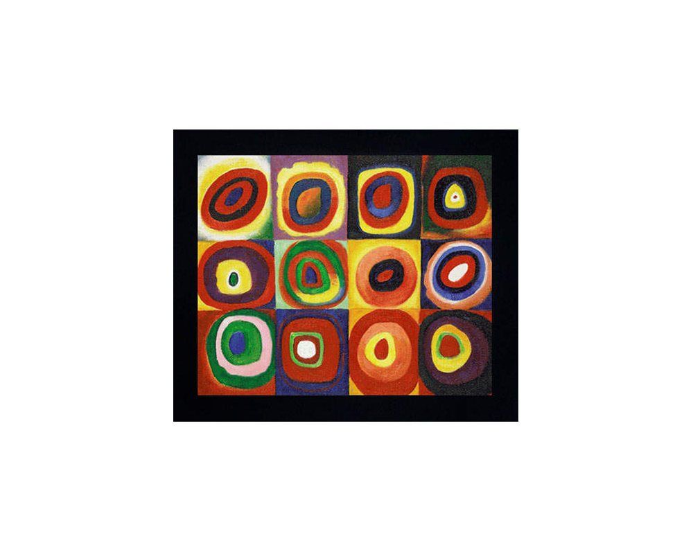 Hand painted Oil Reproduction of Wassily Kandinskys <iColor Study of Squares</i.
