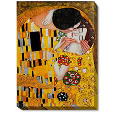 Hand-painted Oil Reproduction of Gustav Klimt's  <i>The Kiss</i>.