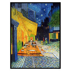 Hand-painted Oil Reproduction of Vincent Van Gogh's <i>Cafe Terrace</i>.