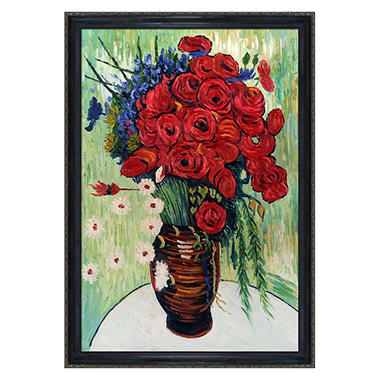 Hand-painted Oil Reproduction of Vincent Van Gogh's <i>Vase with Poppies and Daisies</i>.