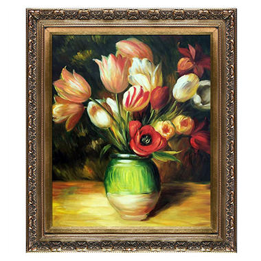 Hand-painted Oil Reproduction of Pierre Auguste Renoir's <i>Tulips in a Vase</i>..
