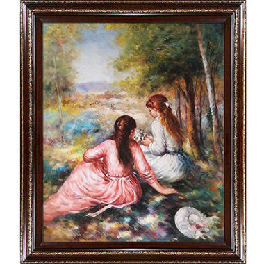 Hand-painted Oil Reproduction of Pierre Auguste Renoir's <i>In The Meadow (Picking Flowers)</i>.