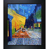 Hand-painted Oil Reproduction of Vincent Van Gogh's Cafe Terrace at Night.