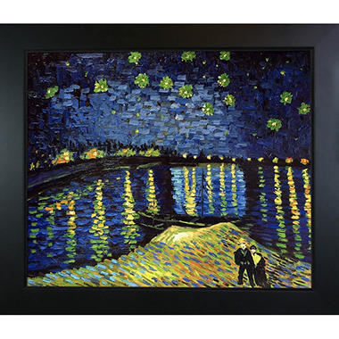 Hand-painted Oil Reproduction of Vincent Van Gogh's Starry Night Over the Rhone.