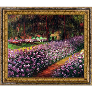 Hand-painted Oil Reproduction of Claude Monet's Artist Garden at Giverny.