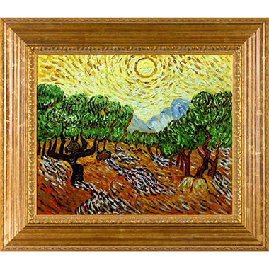 Hand-painted Oil Reproduction of Vincent Van Gogh's <i>Olive Trees with Yellow Sun and Sky</i>..