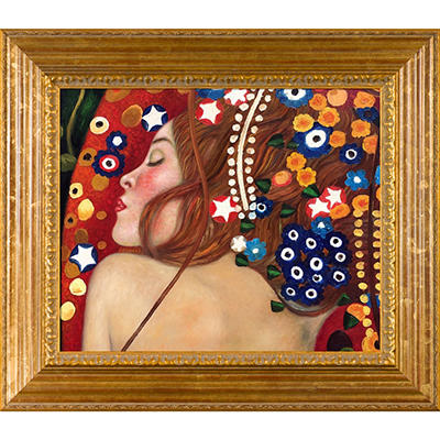 Hand-painted Oil Reproduction of Gustav Klimt's <i>Sea Serpents IV</i>.