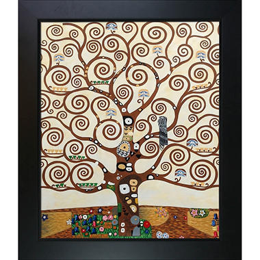 Hand-painted Oil Reproduction of Gustav Klimt's  <i>Tree of Life</i>.