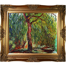 Hand-painted Oil Reproduction of Claude Monet's Weeping Willow.