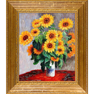 Hand-painted Oil Reproduction of Claude Monet's  Sunflowers.