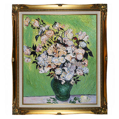 Hand-painted Oil Reproduction of Vincent Van Gogh's Vase with Roses.