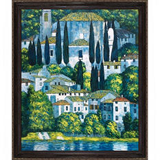 Hand-painted Oil Reproduction of Gustav Klimt's Church in Cassone.