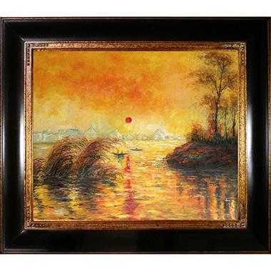 Hand-painted Oil Reproduction of Claude Monet's  Le Coucher Du Soleil La Seine.