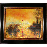 Hand-painted Oil Reproduction of Claude Monet's  Le Coucher Du Soleil La Seine.