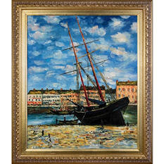 Hand-painted Oil Reproduction of Claude Monet's <i>Boat at Low Tide, FeCamp 1881</i>..