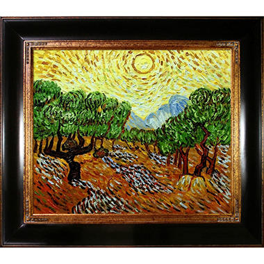 Hand-painted Oil Reproduction of Vincent Van Gogh's <i>Olive Trees with Yellow Sun and Sky</i>.