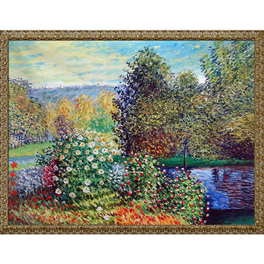 Hand-painted Oil Reproduction of Claude Monet's <i>Corner of the Garden at Montgeron</i>.