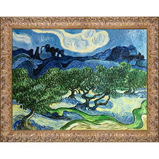 Hand-painted Oil Reproduction of Vincent Van Gogh's Olive Trees with the Alpilles in the Background.