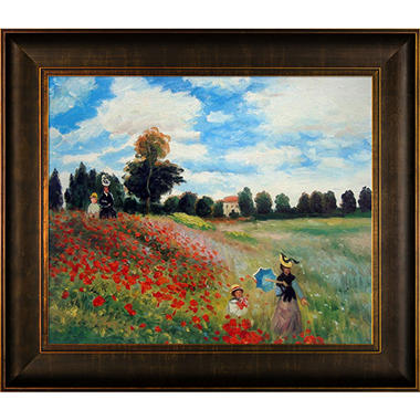 Hand-painted Oil Reproduction of Claude Monet's Poppy Field in Argenteuil.