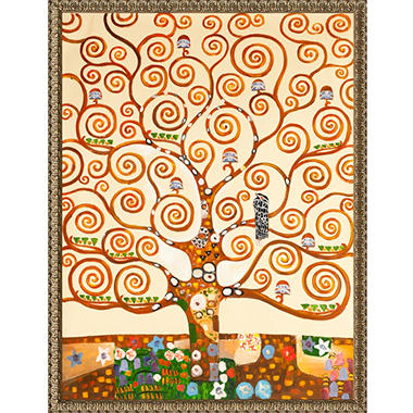 Hand-painted Oil Reproduction of Gustav Klimt's <i>Tree of Life</i> - Hand Carved Golden Oak Leaf Frame