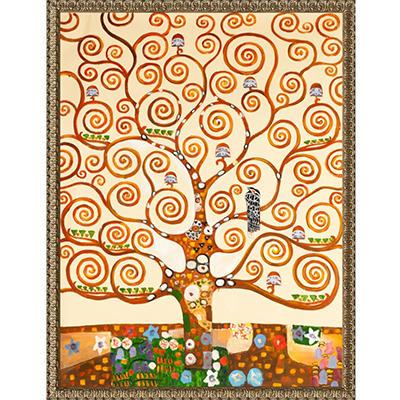 Hand-painted Oil Reproduction of Gustav Klimt's <i>Tree of Life</i> - Hand Carved Golden Oak Leaf Frame