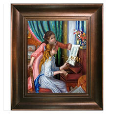 Hand-painted Oil Reproduction of Pierre Auguste Renoir's Young Girls at the Piano.