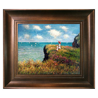 Hand-painted Oil Reproduction of Claude Monet's <i>Cliff Walk At Pourville</i>.