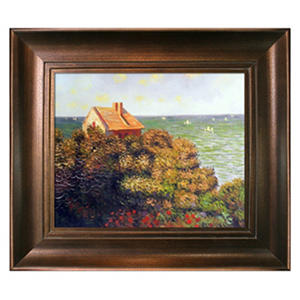 Hand-painted Oil Reproduction of Claude Monet's  <i>Fishermans Cottage At Varengeville</i>.