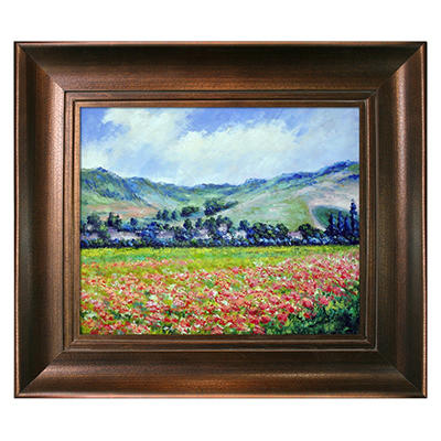 Hand-painted Oil Reproduction of Claude Monet's <i>Poppy Field near Giverny</i>.