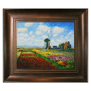 Hand-painted Oil Reproduction of Claude Monet's  <i>Tulip Field with Rijnsburg Windmill</i>.