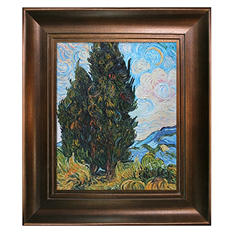 Hand-painted Oil Reproduction of Vincent Van Gogh's <i>Two Cypresses</i>.