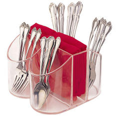 Clear Silverware & Napkin Caddy