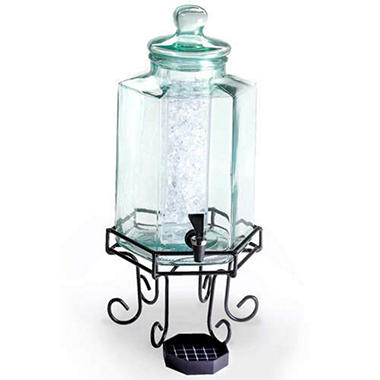 Glass Beverage Dispenser with Wire Base - 2 Gallon