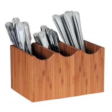 3-Slot Bamboo Cutlery Holder