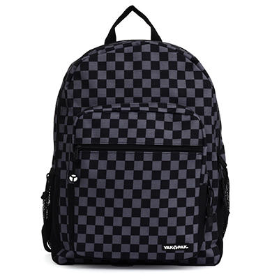 Yak Pak Biggie Backpack in Black Checker Print