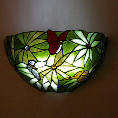 Stained Glass LED Sconce w/ Remote - Rainforest
