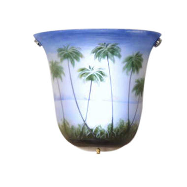 Hand-Painted Palm Tree Island Wireless Wall Sconce