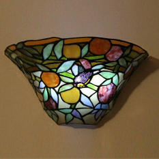 Stained Glass LED Sconce w/ Remote - Peach Tree