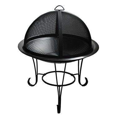 "Fire Sense 30"" Hammered Stainless Steel Cocktail Fire Pit"