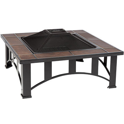 "Fire Sense 34"" Square Tuscan Tile Top Mission Style Fire Pit"