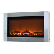 Wall Mounted Electric Fireplace  -  Stainless Steel