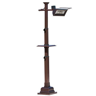 Mojave Sun 1500 Watt Hammer Tone Bronze Telescoping Pole Mounted Infrared Patio Heater w/Table