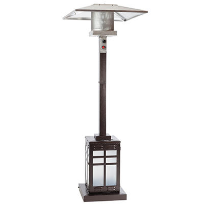 Fire Sense Hammered Bronze Mission Style Illuminated Patio Heater